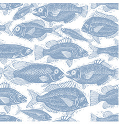 freshwater fish endless pattern nature and vector image