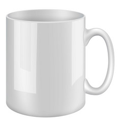 White mug mockup realistic style vector