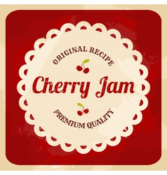 Retro style cherry jam label vector