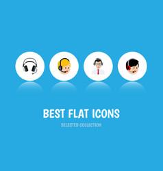 Flat icon center set of help earphone operator vector