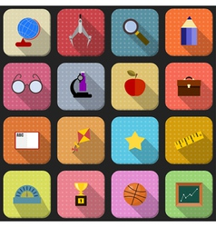 16 flat icons for school vector image vector image