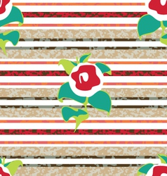 Stripe and flower mix pattern vector