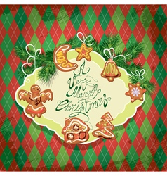 Card of xmas gingerbread - cookies in angel star m vector