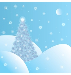 Snowy christmas tree vector