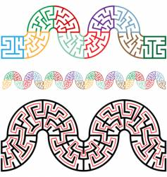 winding mazes in arc sections vector image