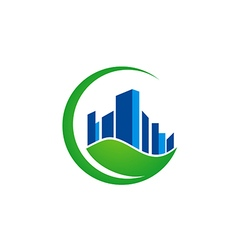 Green leaf building ecology environment logo vector