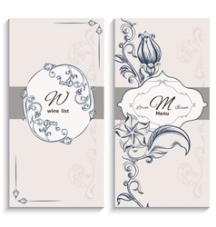 Set floral ornament wine list and menu vector