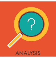 Analysis research magnifier line icon with flat vector