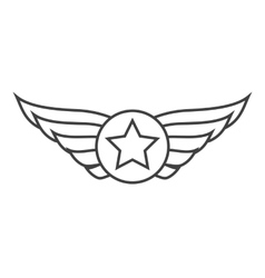 Aviation outline emblem badge or logo vector