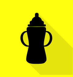 Baby bottle sign black icon with flat style vector