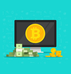 bitcoin mining concept and paper money exchange vector image vector image