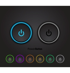 Black led light power button vector image vector image