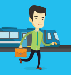 business man at train station vector image