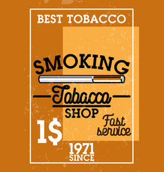 color vintage tobacco shop banner vector image