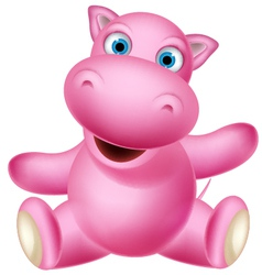 cute baby hippo cartoon sitting vector image