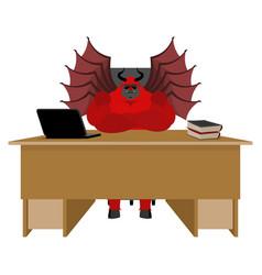 Devil of workplace satan boss sitting in office vector