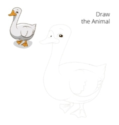 Draw the animal goose educational game vector image vector image