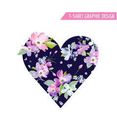 Floral heart spring graphic design with flowers vector
