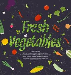Fresh vegetables background for menu or poster vector