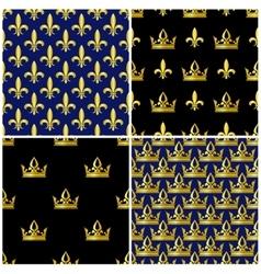 Golden crowns and fleur de lis seamless patterns vector image