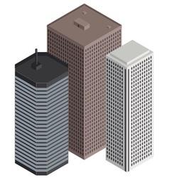 Isometric city buildings vector