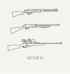 line flat hunt and camping icon shotgun vector image vector image