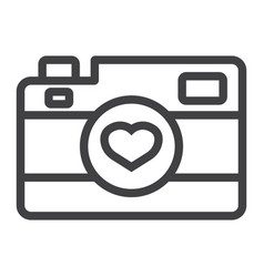 Love camera line icon valentines day and romantic vector