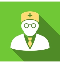 Main physician flat long shadow square icon vector