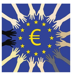 many hands for europe vector image