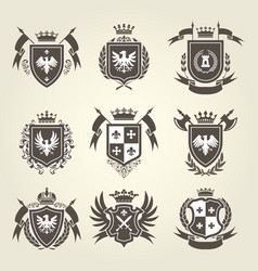 Medieval royal coat of arms and heraldic emblems vector