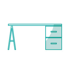 Office desk isolated icon vector