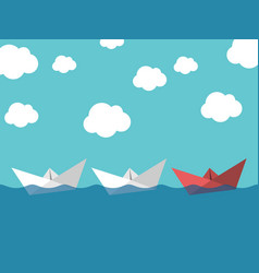 paper boats leadership concept vector image vector image