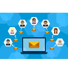 People connecting with laptop and e-mail vector