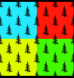 pine tree seamless pattern on colors backgrounds vector image vector image
