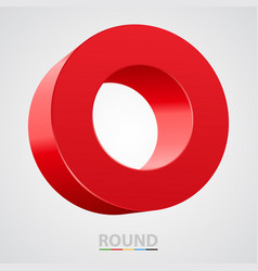 red glossy circle isolated on white vector image
