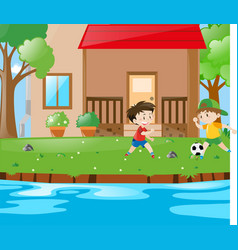 Scene with two boys playing soccer vector