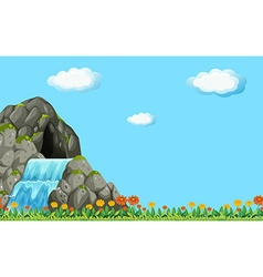 Scene with waterfall and field vector