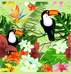 Seamless pattern with tropical flowers and birds vector