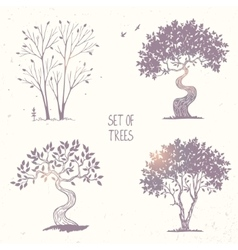 set tree silhouette vector image vector image