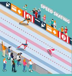 Skating track isometric composition vector