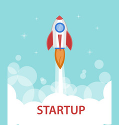 Space rocket ship starting the flight to the sky vector