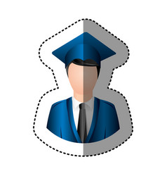 sticker half body man with graduation outfit vector image