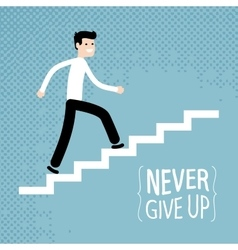Success in business businessman climbs up stairs vector