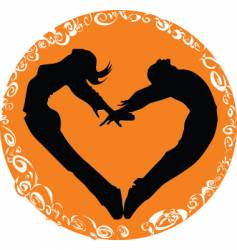 two people one heart vector image vector image