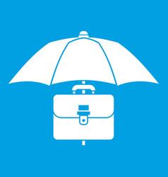 Umbrella and business case icon white vector