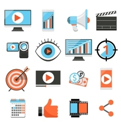 Video marketing and digital social media flat vector