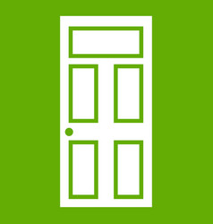 wooden door with glass icon green vector image vector image