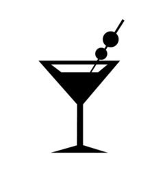 Martini Glass Icon Silhouette vector image
