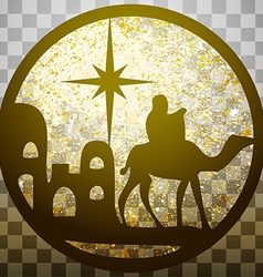 Adoration of the magi silhouette icon gold on gray vector