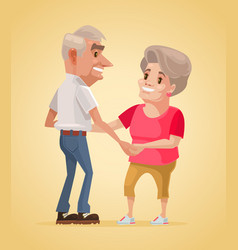 Happy smiling grandparents characters dance vector
